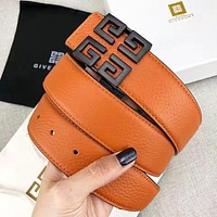 Givenchy Fashion New Metal Pattern Buckle Women Men Leisure Belt Width 3.8 CM With Box