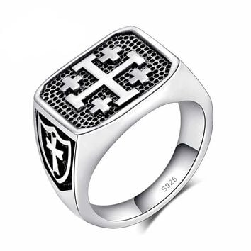 High Quality 925 Sterling Silver Unisex Ring Cross Design