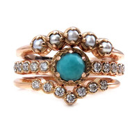 Georgian Engagement Ring Set - Rose Cut Turquoise, Seed Pearls and Diamonds - 14k Gold
