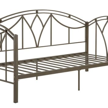 Bronze Metal Day Bed With Slats, Brown By Poundex