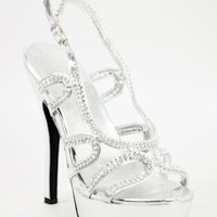 "Wedding Shoes Silver with 4 1/2"" heels and 1"" platform (Style 800-59)"