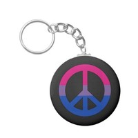 Bisexuality flag peace sign Keychain