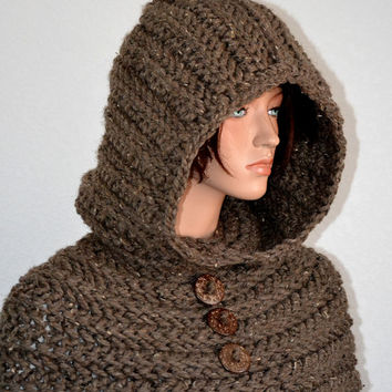 Through the Woods Cowl/ Handmade Hooded Cowl/ Crochet Chunky HoodedNeckwarmer