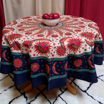 Handmade 100% Cotton Celestial Sun Moon Star Print Tablecloth 72 Inch Round Beige