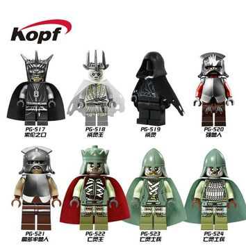 20Pcs Super Heroes Lord of the Rings King Soldier of the Dead Mordor Orc Uruk Hai Hobbit Building Blocks Toy for children PG8036
