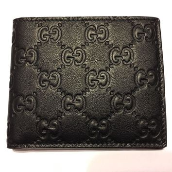 One-nice™ AUTHENTIC GUCCI Men's Classic Black Soft Guccissima Leather Bi-fold Wallet ITALY