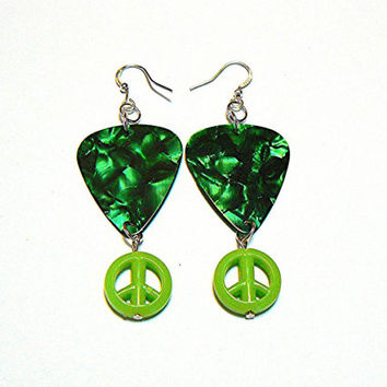 Guitar Pick and Peace Sign Charm Earrings, Green Marbled, Handmade, Silver Plated, Jewelry