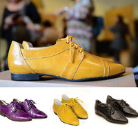 yellow pointy flats, yellow oxford shoes, women oxfords, women flats, yellow flats, casual shoes, leather oxford, summer shoes, summer flats