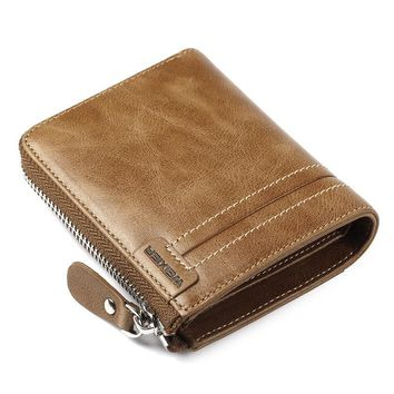 Vintage PU Leather Zipper Multi-Slots Trifold Wallet For Men