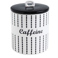 """Ceramic Canister """"Caffeine"""" Black & White by Creatice Coop"""