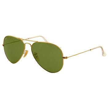 Ray-Ban RB 3025 001-14 58 Unisex Aviator Large Arista Golden Metal Crystal Green Lens