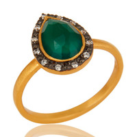 18K Yellow Gold Plated Sterling Silver Green Onyx And CZ Stackable Ring