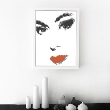 Face Print Girls Face Print Fashion Illustration Fashion Sketch Print Girl Modern Nursery Art Girls Room Print Printable Art Fashion Art
