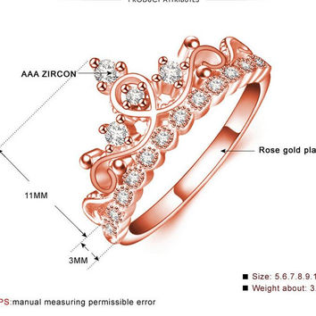 Rose Gold Crown Shaped Ring Glittering 3ct Marquise Cut Zirconia Promise Rings for Women Mother's Gift Vintage Anel Feminino UR0347