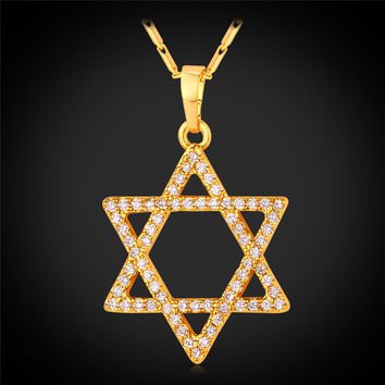 Magen Star Of David Pendant Necklace Women Jewelry Gold/Silver Color Cubic Zirconia Luxury Israel Jewish Necklace P2310