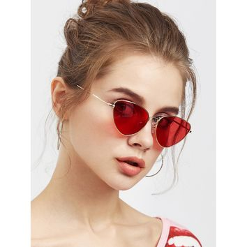 Oval Shaped Flat Lens Sunglasses RED