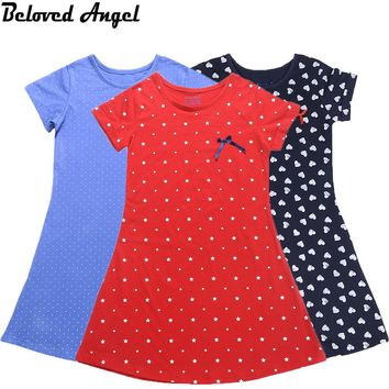 2017 Summer Short Sleeves Girls Vintage Dresses Child Princess Clothing School Kids Clothes Baby Costumes Teens Dress Party Wear