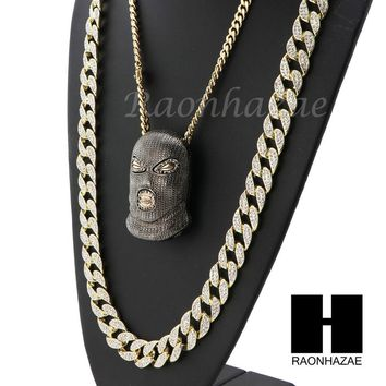 ICED OUT BK GOON MASK PENDANT 6mm CUBAN/12mm ICED OUT CUBAN CHAIN NECKLACE SET 8