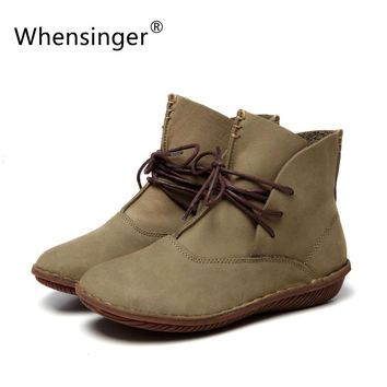Whensinger - 2017 Women Shoes Female Genuine Leather Boots Handmade Vintage Literary Style Ankle Lace-Up Fashion 506-L