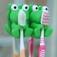 niceEshop(TM) Cartoon animal toothbrush holder wall toothbrush holder 2 pcs green frog:Amazon:Electronics