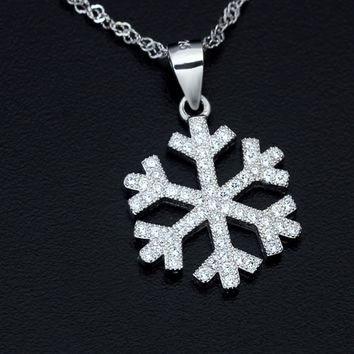 Personalized big snowflake 925 sterling sliver necklace pendant, a perfect gift