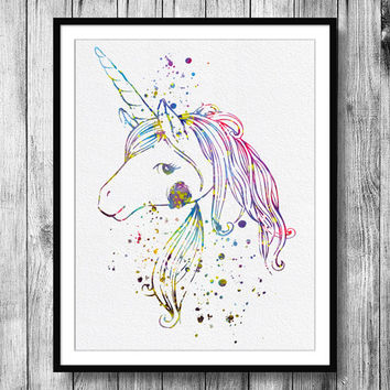 Instant Download Unicorn Watercolor Illustration Art Digital Printable JPEG Wall Art For Girls Art Wall Decor