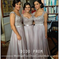 Custom Made Silver Gray Prom Dress,Lace Bridesmaids Dresses,Chiffon Prom Dress,Lace Prom Dresses,Cap Sleeves Prom Dress,Dresses For Prom