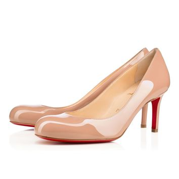 Best Online Sale Christian Louboutin Cl Simple Pump Nude Patent Leather 70mm Stiletto