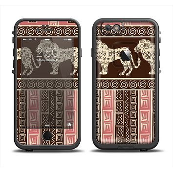 The Aztec Pink & Brown Lion Pattern Apple iPhone 6 LifeProof Fre Case Skin Set