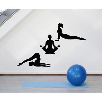 Vinyl Wall Decal Yoga Style Lotus Pose Beautiful Girls Healthy Life Stickers Mural (g857)
