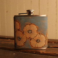 Poppy Garden Flask  Leather in Silver Blue and by moxieandoliver