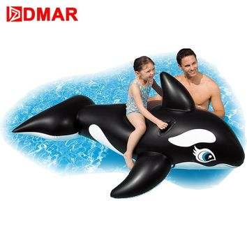 DMAR 190cm  Inflatable Whale Giant Ride On Toys for Kids Sea Pool Float Toys Swimming Ring Circle Beach Inflatable Mattress