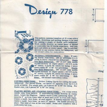 Laura Wheeler Needlecraft Service Mail Order Pattern 778 for Cross Stitch Single or Double Quilt or Bedspread, Circa 1950s