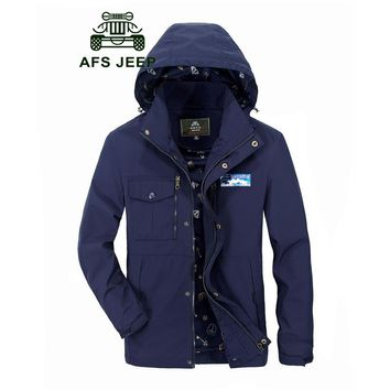 AFS JEEP SPRING MEN JACKETS AND COATS TURN-DOWN COLLAR