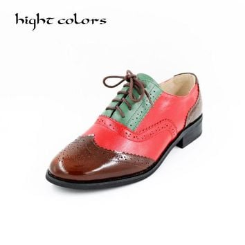 2018 Genuine Leather Shoes Women Brogues Oxfords Flat Heels Round Toe Handmade Women Casual Shoes Cow leather Plus Size 43