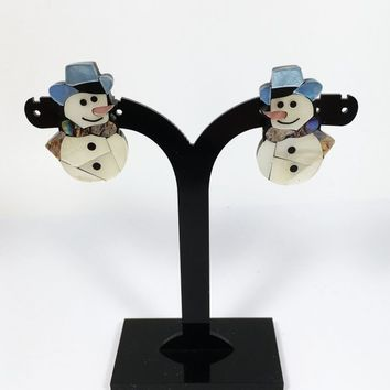 Lucite Snowman Pierced Earrings Vintage 1980s 1990s Mosaic Style Pieced Snowmen Studs