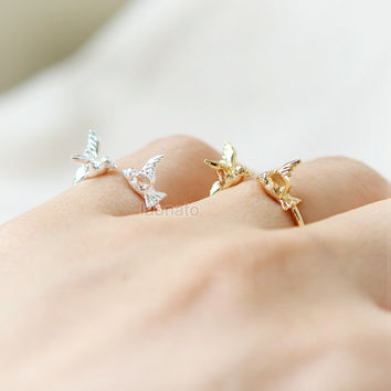 Tiny Sparrows Ring / Choose your color- gold and silver, adjustable ring