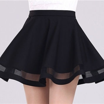 New women skirts Grid Design Pleated Knee-length skirt 2 colors black and dark red Party dress = 1946661060