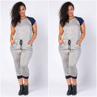 New Plus Size Baseball Sleeve Marled Gray And Blue Cropped Jumpsuit Size 3X