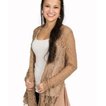 Origami Women's Taupe Lace with Ruffles Long Sleeve Cardigan