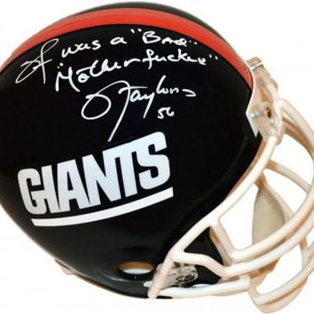 LMFONY Lawrence Taylor Signed Autographed 'I Was a Bad MF'er' Full-Sized New York Giants Football Helmet (ASI COA)