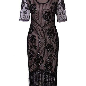 \Vintage 1920s Dresses Floury Beaded Cocktail Flapper Dress With Sleeves Gatsby Party