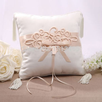 Free shipping,New style Ivory&Champagne Satin Embroidery Bowknot Wedding Ring Pillow Wedding Ceremony Stuff Accessories JZ40