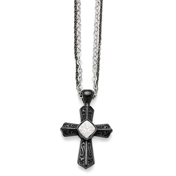 Men's Titanium/Sterling Silver Black Ti Polished Etched Cross Necklace