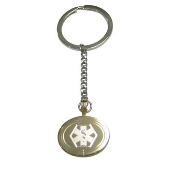 Gold Toned Etched Oval Paramedic Star of Life Symbol Pendant Keychain