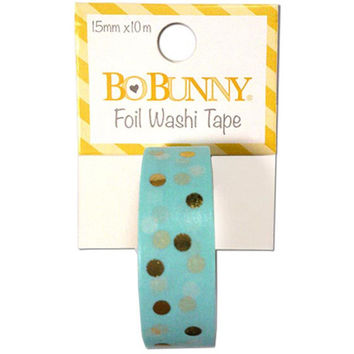 Aqua Blue with Gold Foil Polka Dots Paper Washi Tape 15mm x 10m; Bo Bunny