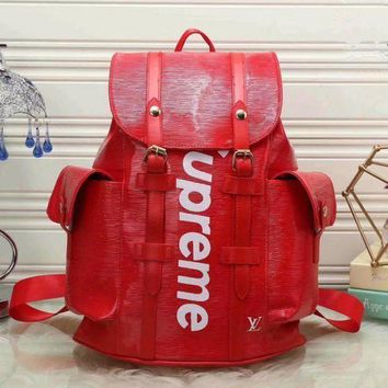 PEAPUF3 LV SUPREME Women Shopping Leather Metal old plaid Backpack red Khaki G-LLBPFSH