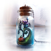 Bottle necklace Nightmare Before Christmas scene inspired by Tim Burton
