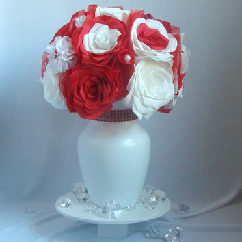 Christmas wedding centerpieces, Brooch Wedding Decor, Red Bridal decor, Floral arrangements, Quinceanera, fake flower decor, Holiday decor