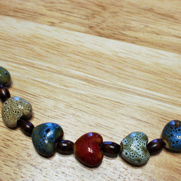 OOAK Nature-Inspired Bracelet; Wood Bead and Glass Heart Bracelet; Handcrafted Bracelet; Earth-Toned Bracelet; Multi-Colored Bracelet; OOAK